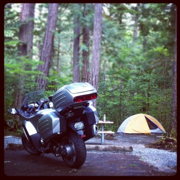Image: The Concours stands near the new tent during a recent three-day ride in the North Cascades.