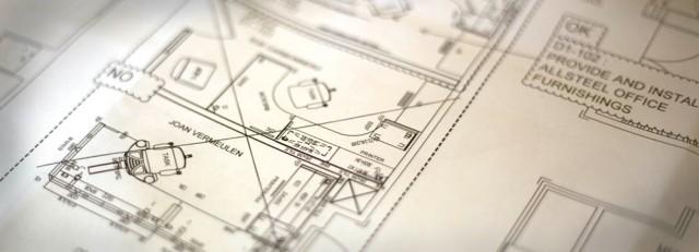 Blueprints of the newsroom layout.